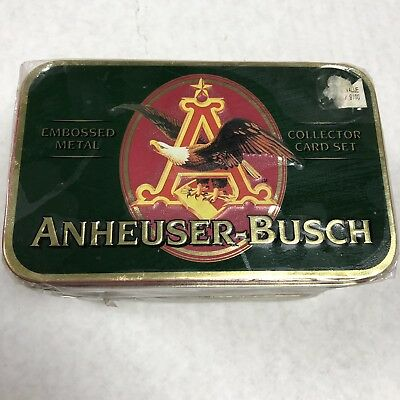 1996 ANHEUSER-BUSCH EMBOSSED METAL COLLECTOR ADVERTISING CARD SET Man Cave Bar