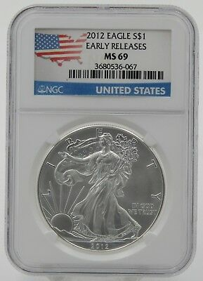 2012 P American Silver Eagle Early Releases USA Flag Label - NGC MS69