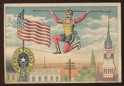 1880-90S Patriotic Tc, Merrick's Thread Co. Advertising, Man On Tight Rope, Flag