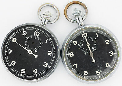Pair of Antique Swiss Made Military Stop Watches for Parts Use out of an Estate!
