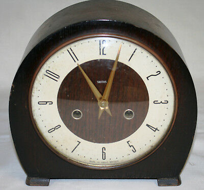 Fully Working Antique Smiths Oak Cased  8 Day Chiming Mantel Clock + Key