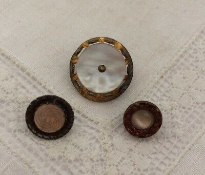 Vintage 3 Mother Of Pearl Metal Shell MOP Buttons 104-8