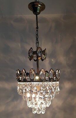 Antique Vintage French Basket Style Brass & Crystals small Chandelier  Lamp