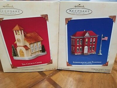 Hallmark Town and Country Series #5 Schoolhouse and The Church Choir Ornaments