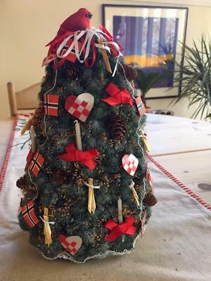 Antique Fabulous Norwegian  Christmas Tree With Tiny Handmade Decorations Norway