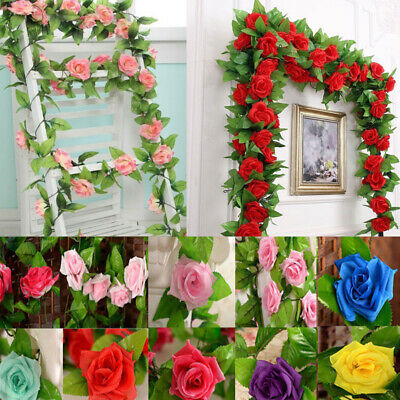 8ft Artificial Silk Rose Garland Flowers Vine Ivy Wedding Party String Decor New
