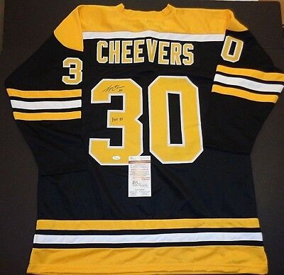Gerry Cheevers Boston Bruins Autographed Signed Black Style Jersey XL coa  JSA fb6db6587