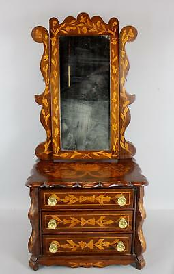 Antique circa 1900 Marquetry Rosewood Inlaid Miniature Childs Doll Chest, Mirror