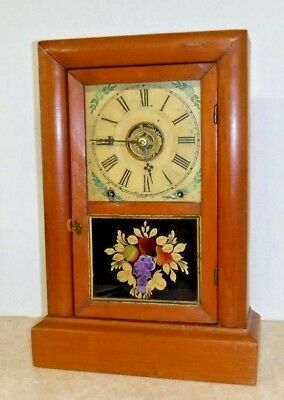 ANTIQUE ANSONIA CONNECTICUT 8 DAY COTTAGE CHIME CLOCK WORKING WITH ALARM c.1860