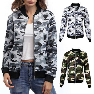 b87a2d47f465a Womens Camo Bomber Jacket Long Sleeve Army Coat Camouflage Costume Bodycon