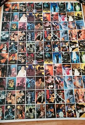 1994 Universal Monsters Topps Uncut sheet set of 100 Cards Mike Mignola