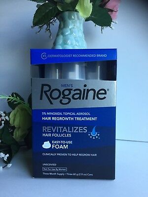 ROGAINE Hair Regrowth MEN 5% Minoxidil Topical Foam 3 Month.NEW. US SELLER