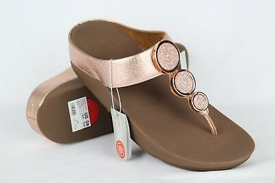 e14cb69b40f596 New Fitflop Women s Halo Toe Thong Wedge Sandals 8 Rose Gold   142-323-