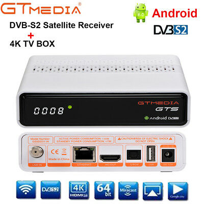 4K Android TV BOX 2GB 8GB+DVB-S2 Satellite Receiver Built-In WiFi BT4.0 Set Top