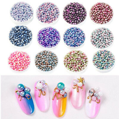 Multicolor Round ABS Imitation Pearl Beads Decoration without Holes DIY Crafts