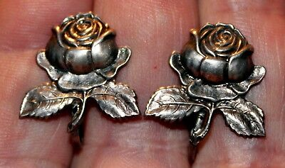 Beautiful Pair of Old Antique Sterling Silver ROSE FLOWER Screw Back Earrings