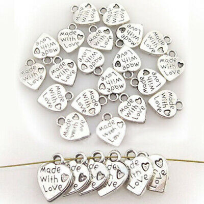 100 Silver Plated Made with Love Heart Unique  Jewelry Pendants Beads DIY Craft