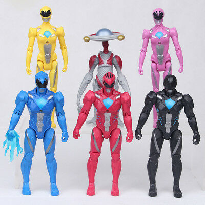 6 PCS Power Rangers Yellow Black Red Ranger Movie Action Figure Gift Toys