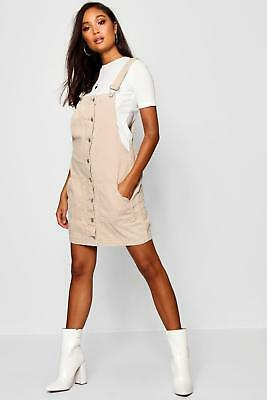 62522be55818 BOOHOO WOMENS DAISY Button Detail Denim Pinafore Dress - $25.00 ...