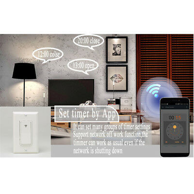 WiFi Smart Light Switch Wireless Mobile APP Remote Control In-Wall Timer Switch