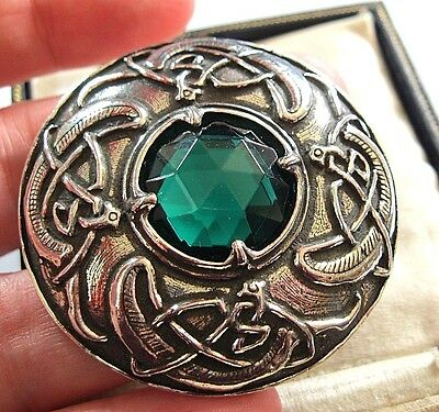 Vintage Design Signed Miracle Celtic Zoomorphic Kilt Green Glass Brooch Pin New