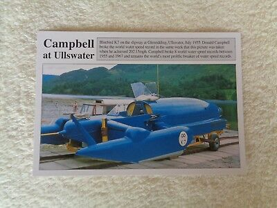 Donald Campbell in Bluebird K7 at Ullswater Water Speed Record Postcard