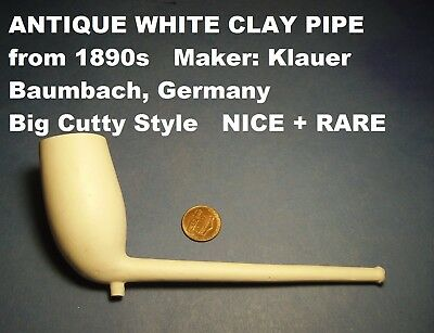 "ANTIQUE FIND BIG WHITE CLAY PIPE ""MEGA-CUTTY"" from 1890s CLASSIC BIG CUTTY STYLE"