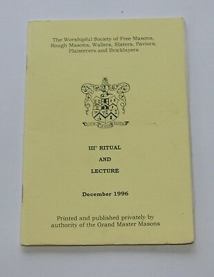 Masonic The Operatives Ritual no 111 and Lecture- 1996 edition