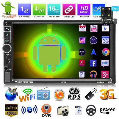 """Android7.1 2DIN 7"""" HD GPS Navi Car Stereo MP5 Player RDS AM FM Radio w/Camera"""