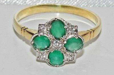 9ct Yellow Gold on Silver Green Agate & Zircon Art Deco Design Ring - size Q