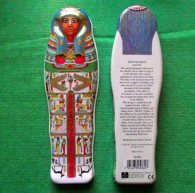 Vintage Egyptian Sarcophagus Tin Box British Museum Souvenir for Archaeologist B