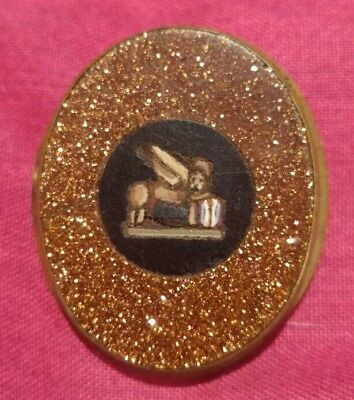 Antique Goldstone Micro Mosaic / Pietra Dura Brooch Lion of Saint Mark Very Rare