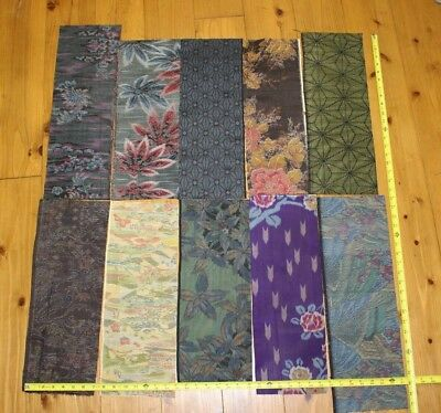 Vintage Japanese Silk Tsumugi Kimono Fabric Lot 10 Pieces Remnants Bundle