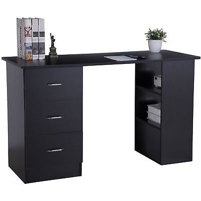 Black Computer and Home Office Desk with 3 Drawers and 3 Shelves - Piranha Guppy