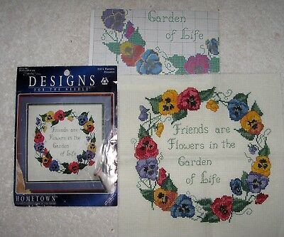"""Hometown Counted Cross Stritch App. 10"""" X 10"""" #5311 Pansies Finished"""