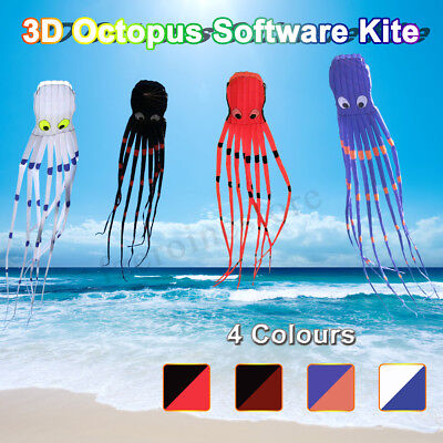 26ft 8m 3D Huge Octopus Shape Kite Family Outdoor Sport Toy Single Line A