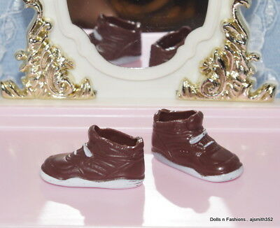 SHOES Barbie Doll Brown Sneakers for Flat Foot Dolls Perfect Pink PAINT FLAWS