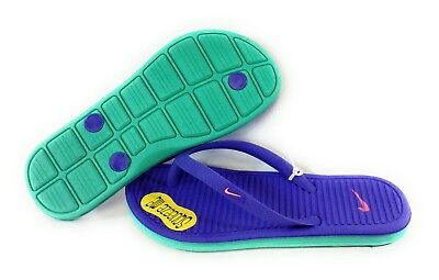 e734aeff1464a NEW Youth Girls NIKE Solarsoft Thong 2 555624 500 Purple Teal Sandals Flip  Flops