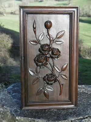 SUPERB 19thc  MAHOGANY CARVED PANEL WITH FLOWERS ON STEM (2)