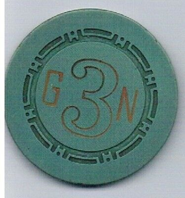 Golden Nugget Casino Green G3N Roulette Chip Las Vegas Nevada 1958