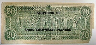 Advertising - Souvenir of Dixie Showboat Players on a imitation Confederate $20