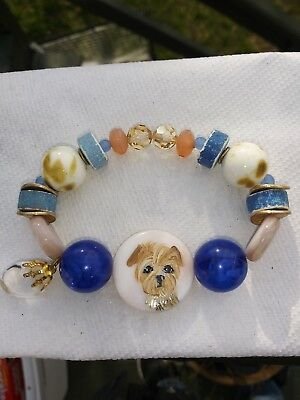 Hand Painted Yorkshire terrier yorkie art bracelet stretch handmade glass stone