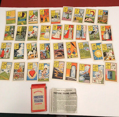 OLD GYPSY Vintage 1940 Whitman Fortune Telling Cards Complete!  Free Shipping
