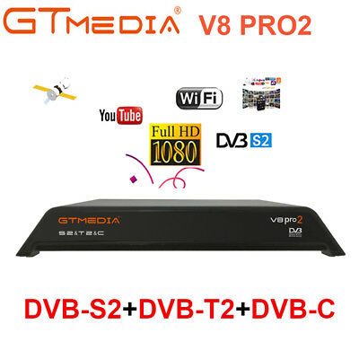 Gtmedia V8 Pro2 H.265 Satellite Receiver HD 1080P DVB S2+T2+Cable Built-in WiFi