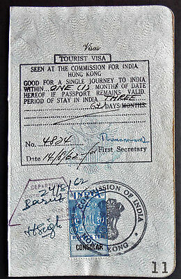 India To Hong Kong Visa Page With Consular Revenue Stamp
