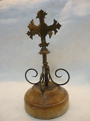 Antique Church Bronze Processional Cross Staff, Hayes & Finch