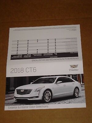 2018 Cadillac Ct6 Exterior Interior Color Chip Chart Brochure Mint!