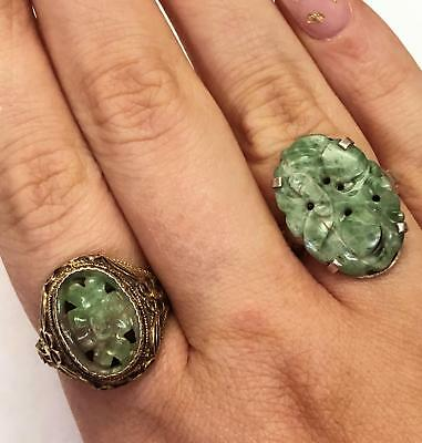 2 Antique Original China Silver & Floral Hand Carved Jade Rings