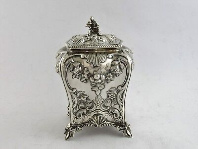 Superb SILVER TEA CADDY, London 1859 C & G FOX chased bombe canister CHINOISERIE