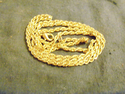bling gold plated FASHION JEWELRY 2mm 16in rope chain hip hop necklace SHORT GP